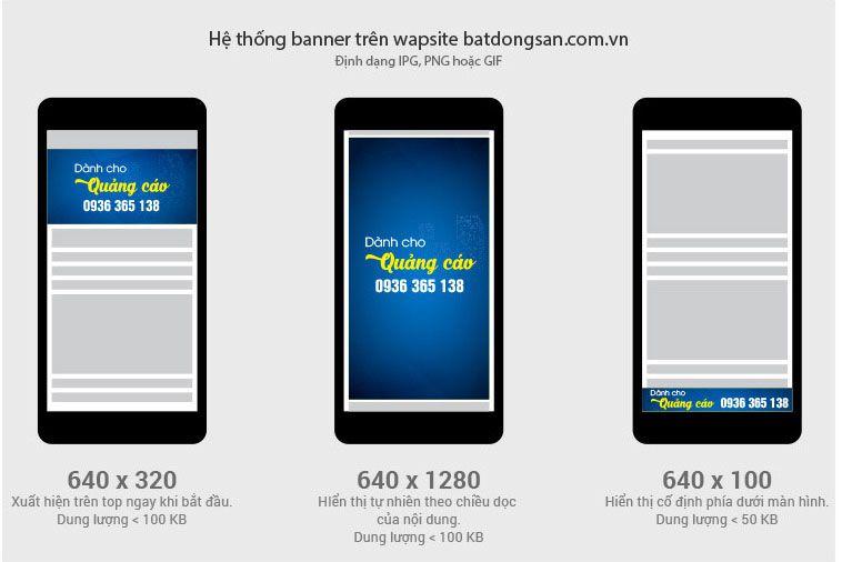 Báo giá banner phiên bản mobile trên Batdongsan.com.vn